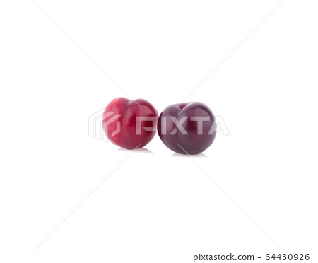 red cherry plum isolated on white background 64430926