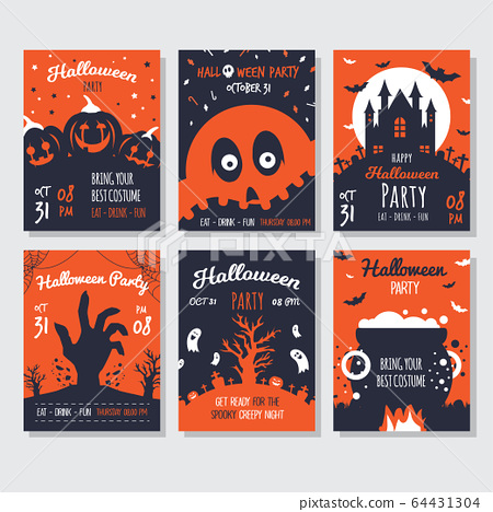 Halloween greeting card collection  64431304