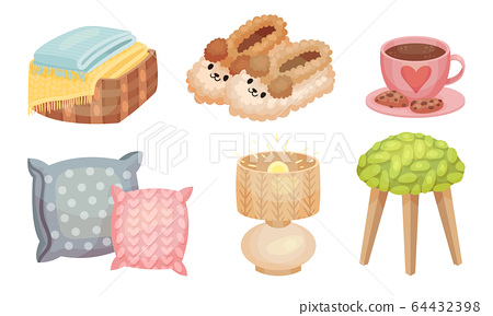 Warm and Cozy Home Things Like Hot Tea with Cookies and Soft Pillows Vector Set 64432398