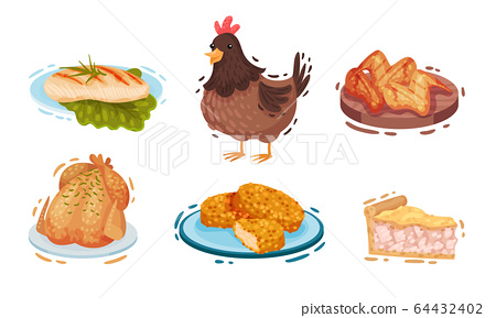 Chicken Food and Snacks with Fried Wings and Roast Chicken Vector Set 64432402