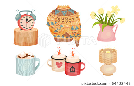 Warm and Cozy Home Things Like Woolen Socks and Knitted Sweater Vector Set 64432442