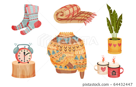 Warm and Cozy Home Things Like Woolen Socks and Knitted Sweater Vector Set 64432447