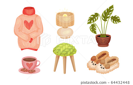 Warm and Cozy Home Things Like Hot Tea with Cookies and Knitted Sweater Vector Set 64432448