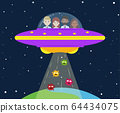 Vector illustration of medical team in UFO abducts 64434075