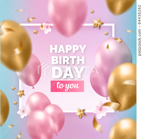 Happy birthday beauty pink blue golden frame with 64436262
