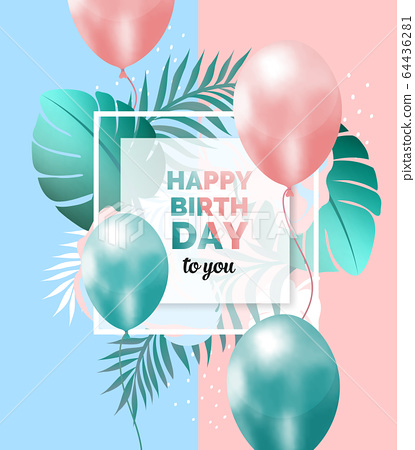 Happy birthday abstract design frame 64436281
