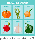 Fresh vegetables vector concept. Healthy diet flat 64436570