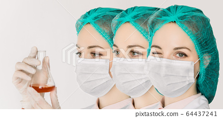 Close up collage portraits of a female doctor, nurse, scientist, lab worker, wearing medical mask and cap, looking at camera dn winking, looking aside, and looking at glass flask with blood sample 64437241