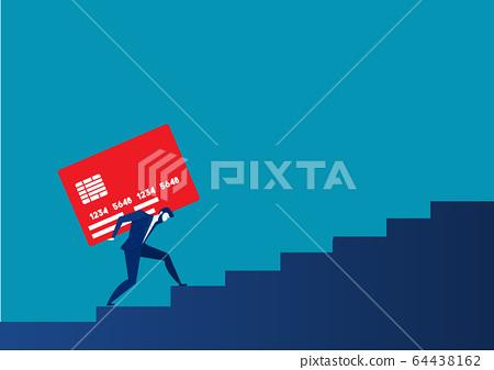 businessman carrying heavy credit card debt financial concept vector 64438162