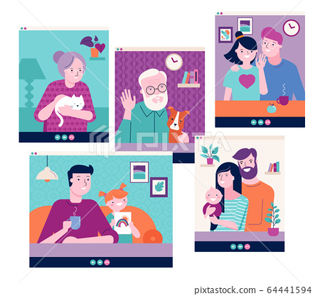 Family, grandparents, children, couple, young people video chatting on the Internet through laptop 64441594