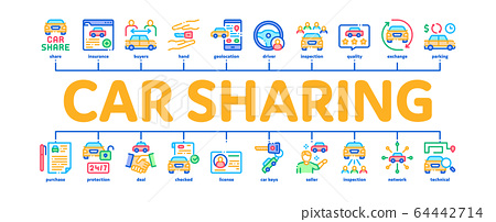 Car Sharing Business Minimal Infographic Banner Vector 64442714