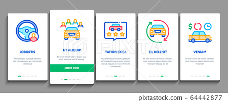 Car Sharing Business Onboarding Elements Icons Set Vector 64442877