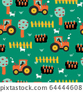 Cute farm pattern with tractors, carrots, fence, apple trees and cats. Repeating seamless vector 64444608