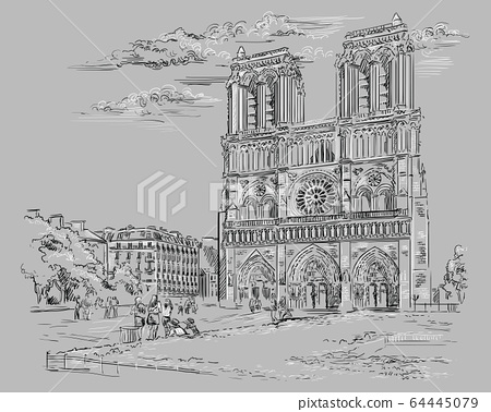 Grey vector hand drawing Paris 2 64445079