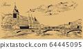 Beige vector hand drawing Paris 5 64445095