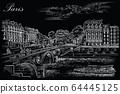 Black vector hand drawing Paris 7 64445125