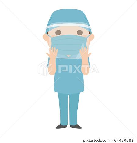 戴著手術盾和戴著面罩的男性醫生。 64450082