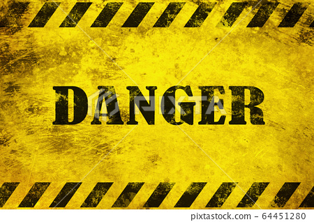 Danger black text on yellow background. 64451280