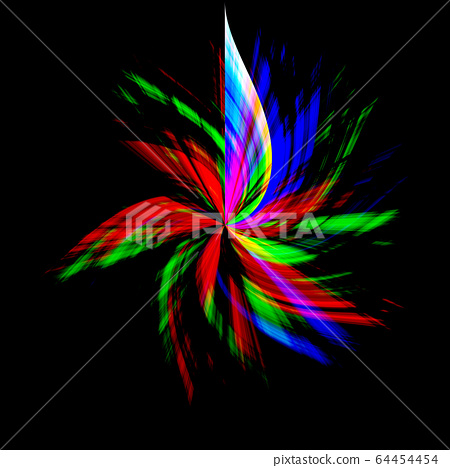 千變萬化的風車狀背景的黑色背景上的彩虹光 64454454