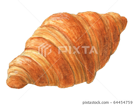 Croissant bread hand painted watercolor 64454759