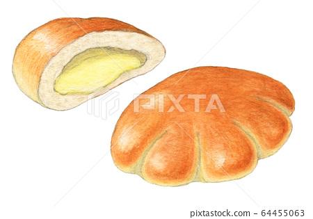 Cream bread bread hand-painted watercolor 64455063