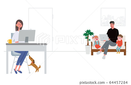 Telework illustration of a couple working remotely from home 64457284