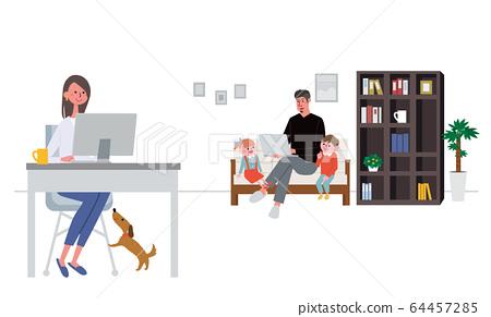一对夫妇,在家中远程工作的远程办公插图 64457285