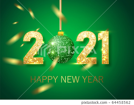 Happy new year 2021 banner.Golden green Vector luxury text 2021 Happy new year. Gold Festive Numbers Design. Happy New Year Banner with 2021 Numbers 64458562