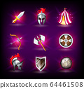 Medieval icons set, knight helmet, roman empire, legionnaires, tent, shield and weapons 64461508