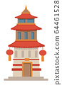 Asian architecture, historic temple or tower with lanterns 64461528