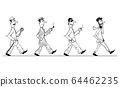 Vector Comic Cartoon of Evolution of Male Businessman Fashion and Clothing During Century With Hipster as Final Form. 64462235