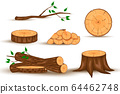 Wood log and trunk, stump and plank. 64462748