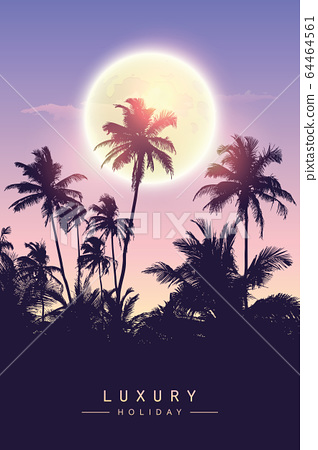 luxury holiday beautiful night by full moon and palm tree silhouette 64464561