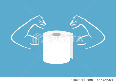 strong roll of toilet paper with muscular arms 64464564
