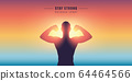 stay strong outdoor sport muscular man silhouette 64464566