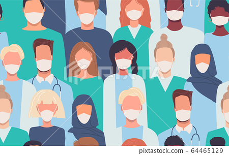 Doctors, nurses, healthcare workers, medical staff. Vector seamless pattern in flat style with people of different nationalities in medical masks. Disease epidemic. Coronavirus COVID-19. Quarantine. 64465129