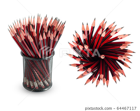 Red pencils in the basket on a white background 64467117