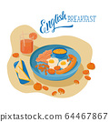 English breakfast Illustration for breakfast menu in hotel, cafe, restaurant, diner poster for wall decoration home kitchen, print for kitchen tool, print industry. Web site and land page design. EPS1 64467867