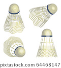 Shuttlecock for badminton from bird feathers isolated 64468147