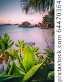 La Digue Island, Seychelles. Beautiful tropical sandy beach with exotic plants in evening sunset lilac light. Vacation holiday concept 64470364