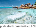 Waves of Anse Cocos at la Digue island, Seychelles. Secluded beautiful tropical beach with rocks in ocean 64470370