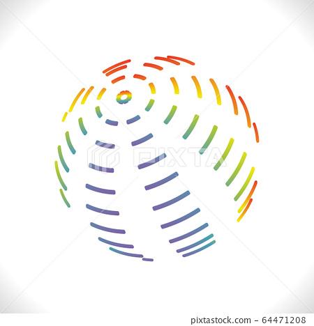 Rainbow stroke ball logo. Color design volumetric 64471208