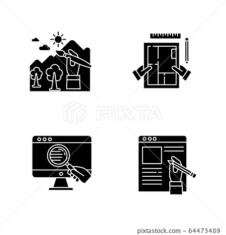 Distant Jobs Black Glyph Icons Set On White Stock Illustration 64473489 Pixta