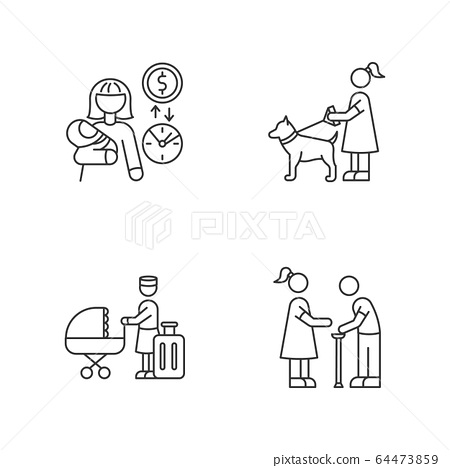 Babysitting service pixel perfect linear icons set. Babysitter job pay rate. Pet sitting. Customizable thin line contour symbols. Isolated vector outline illustrations. Editable stroke 64473859