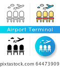 Airport lounge icon. Waiting lobby before airplane departure. Aircraft lounge for passengers. Going on vacation with airline. Linear black and RGB color styles. Isolated vector illustrations 64473909