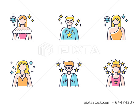 Popular celebrity RGB color icons set. Famous female and male actors. Talent show star. Successful entertainer. Stylish idol. Popular superstar. Hollywood person. Isolated vector illustrations 64474237