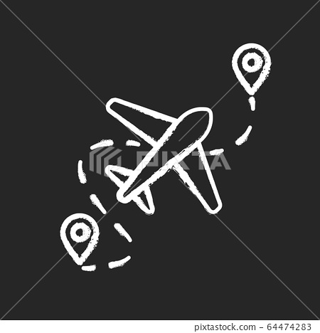 Airplane route chalk white icon on black background. Plane destination with GPS pointer. Way for trip with aircraft. Airline path with dotted line. Isolated vector chalkboard illustration 64474283