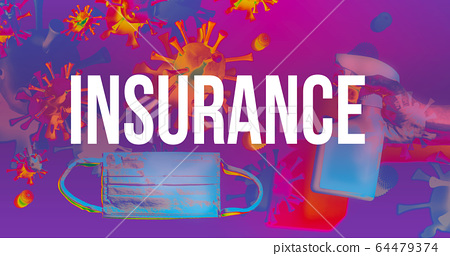 Insurance theme with face mask and spray bottle 64479374