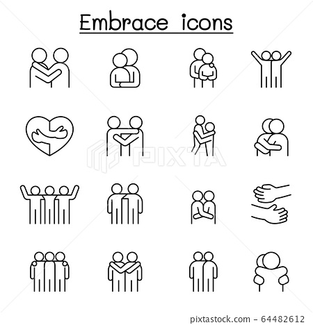 Hug icon set in thin line style 64482612