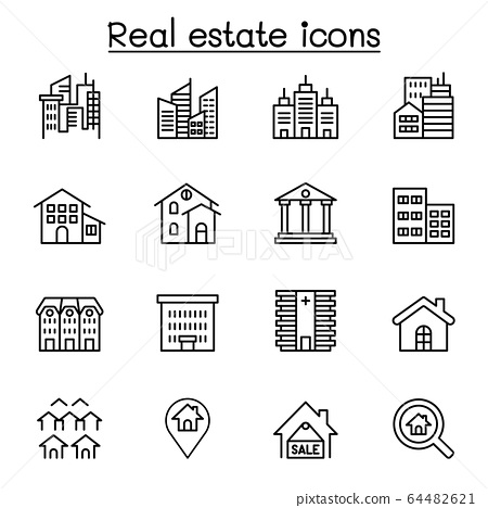 Real estate, building icon set in thin line style 64482621